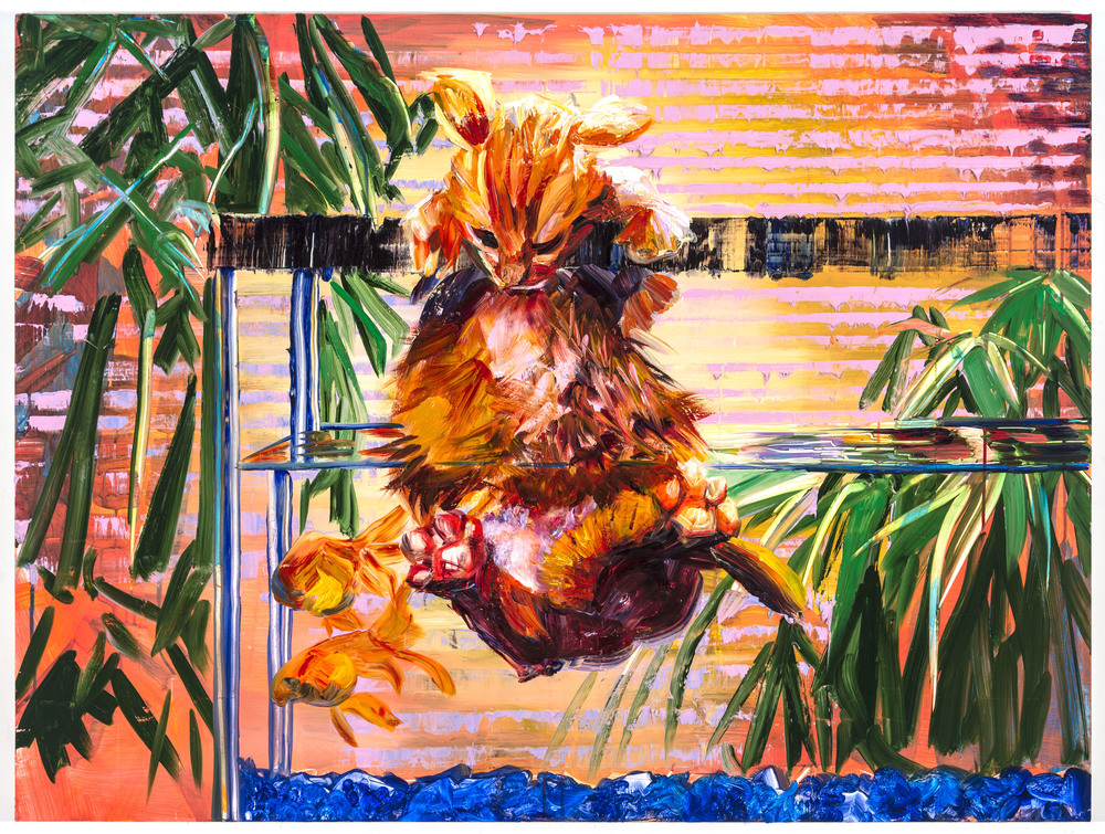 "Wet Cat, 30""x40"", oil on panel, 2014"