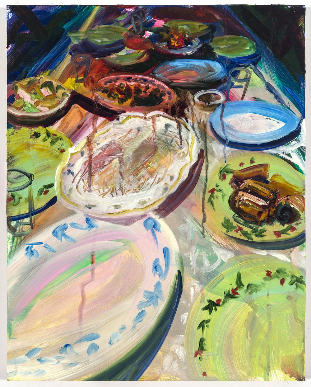 "Plates, 14""x10"", oil on panel, 2014"