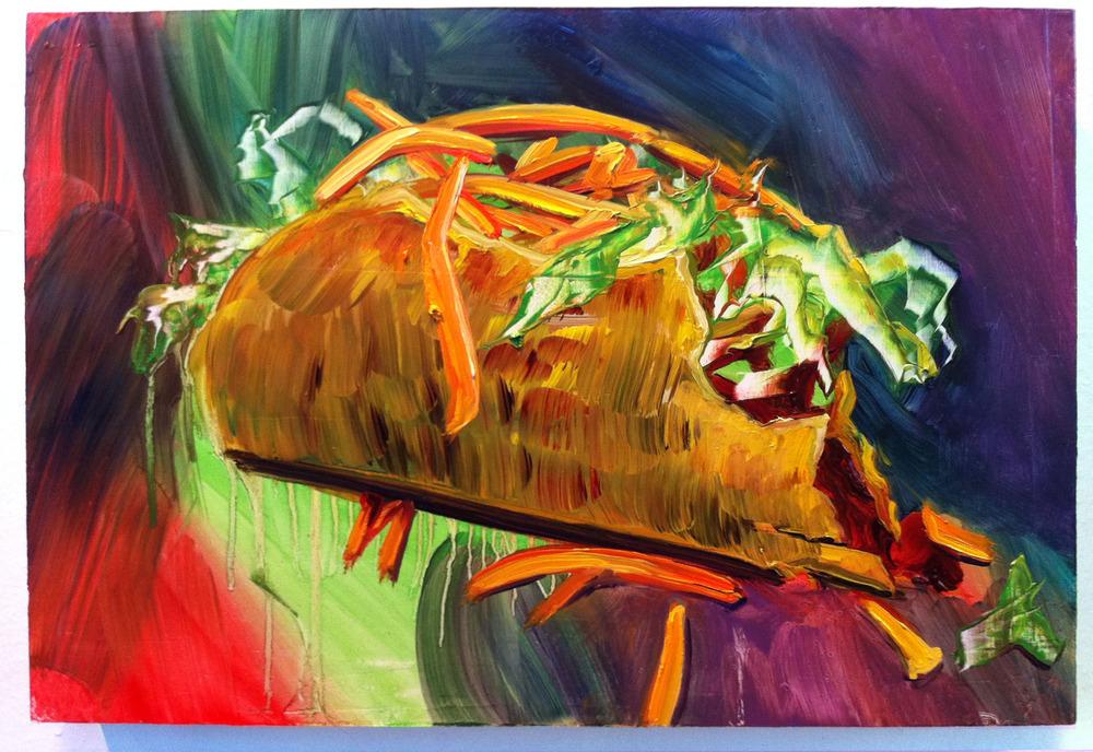 "Taco Supreme, 10""x15"", oil on panel, 2012"