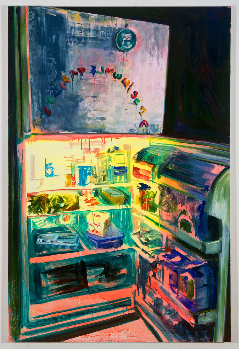 "Mel's Fridge, 60""x40"", oil on panel, 2012"
