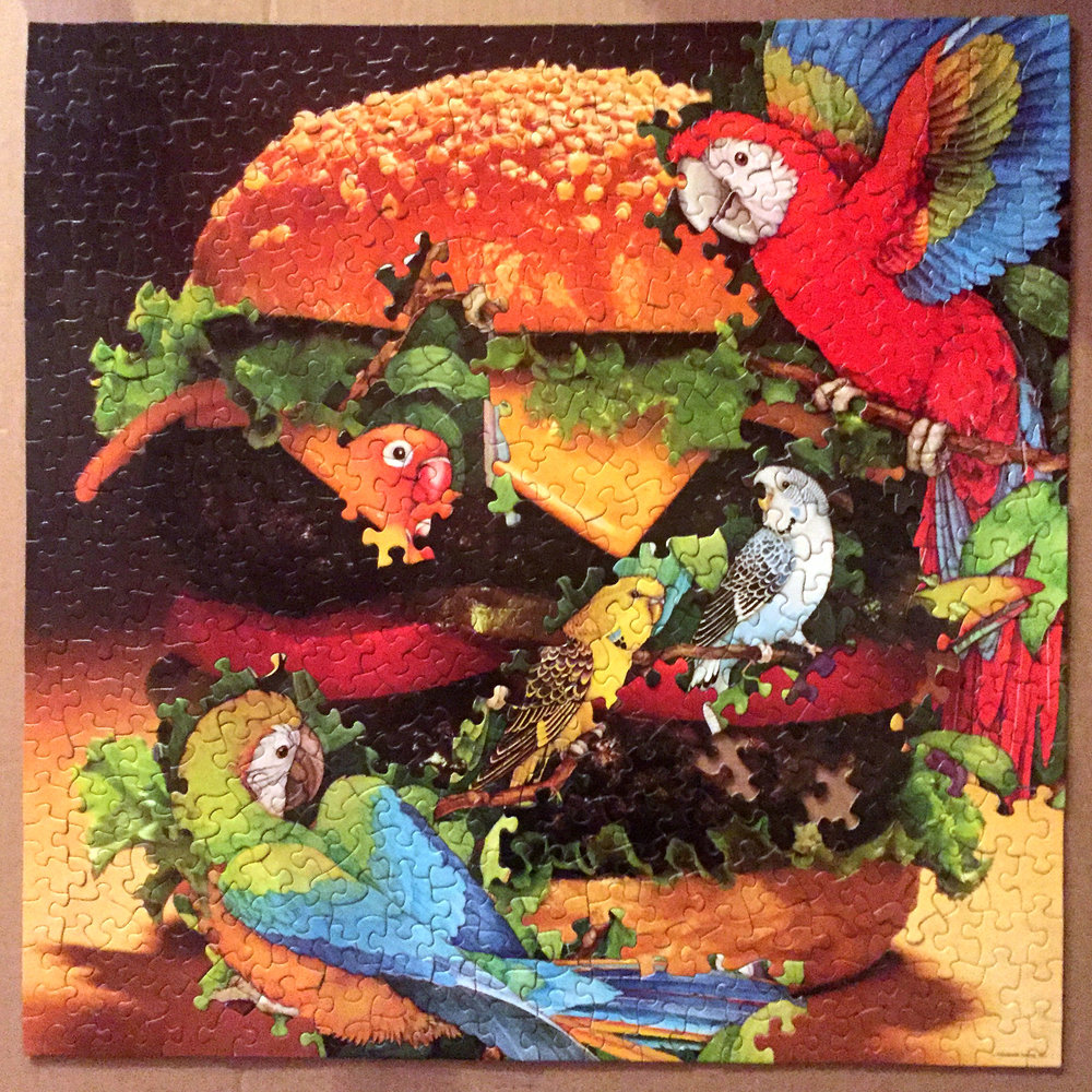 Parrot Burger Party,   jigsaw puzzle collage, vintage jigsaw puzzles, 2016