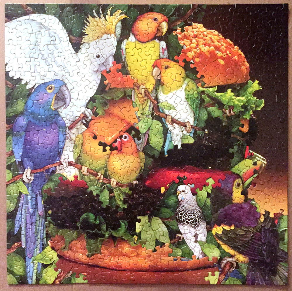 Parrot Burger Party B-Side,  jigsaw puzzle collage, vintage jigsaw puzzles, 2016