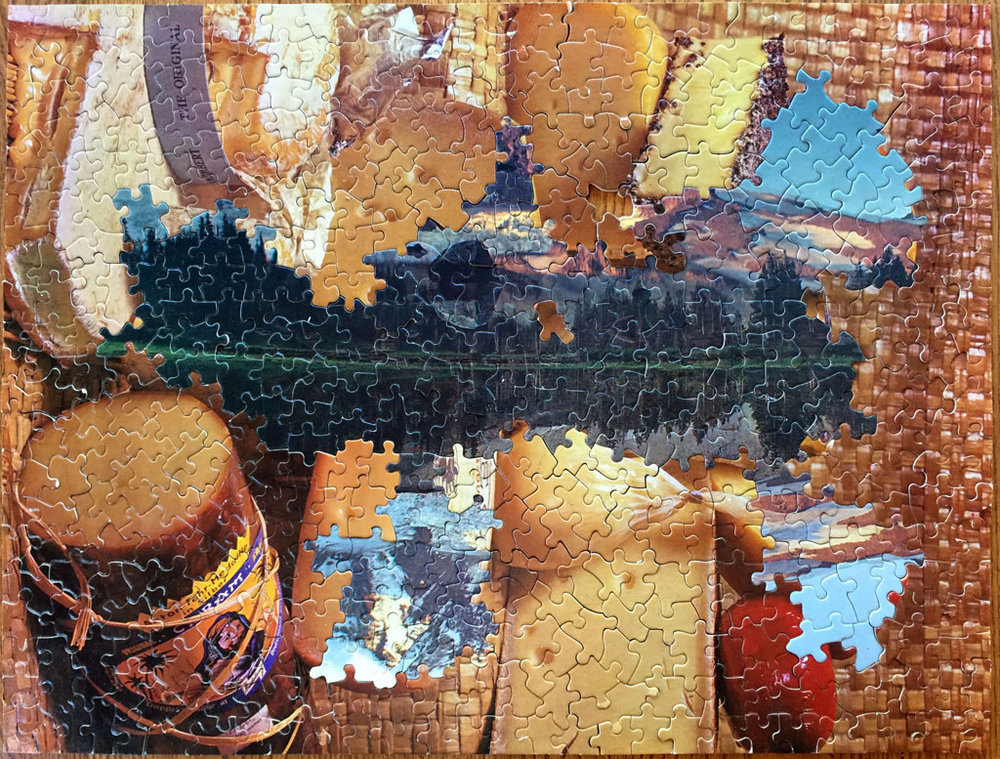 Cheesescape B-Side, puzzle collage, vintage jigsaw puzzles