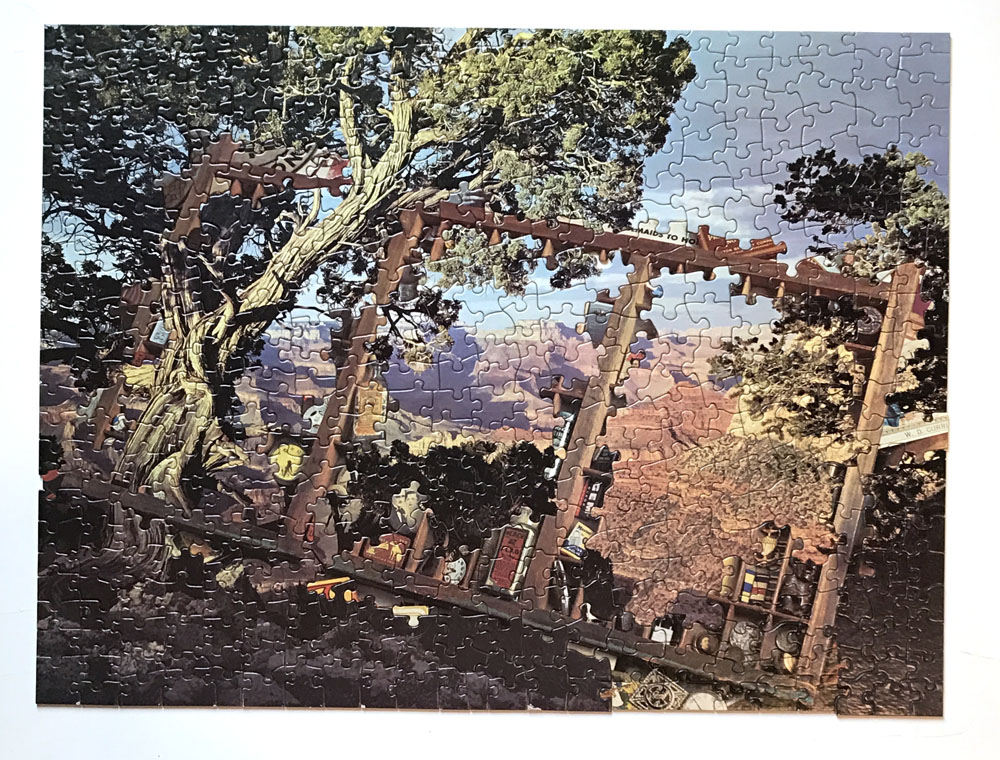 Knotty Tree, jigsaw puzzle collage, vintage jigsaw puzzles