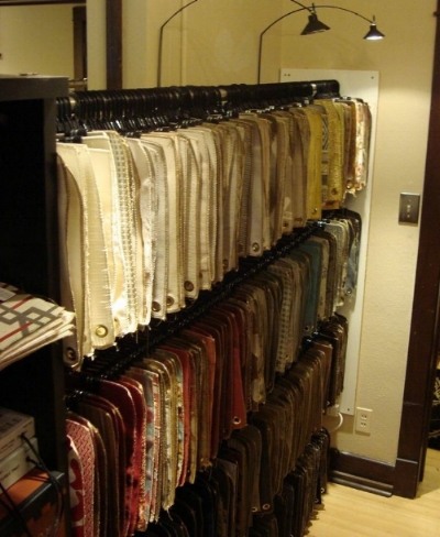 Our rack of Fabric Samples......
