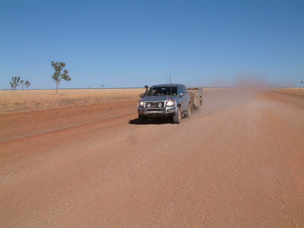 Kicking up dust somewhere in the outback.