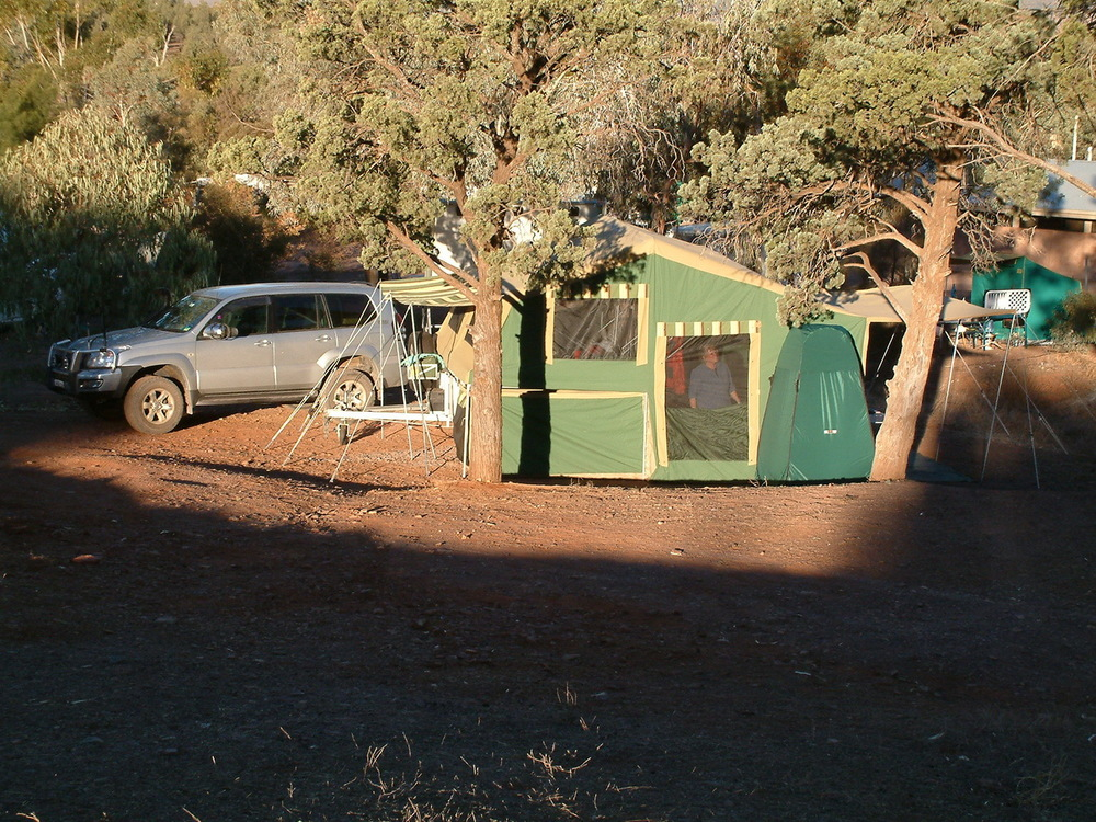 Our moveable home set up on a campsite at Rawnsley Park Station, Flinders Ranges