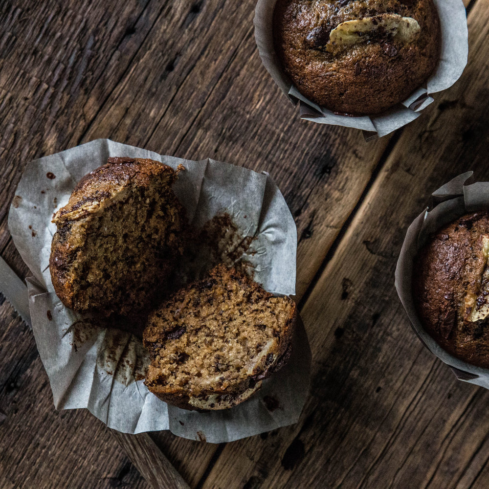 Roasted Banana Muffins