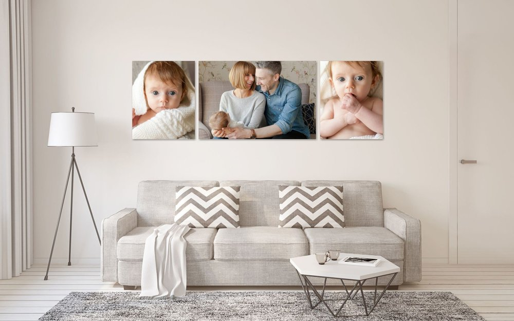 The Statement Collections Choosing one of my designs from The Statement Collection guarantees the wow factor in any room. Available in either canvas or acrylic acrylic finish, allow me to create the perfect family wall grouping to impress.