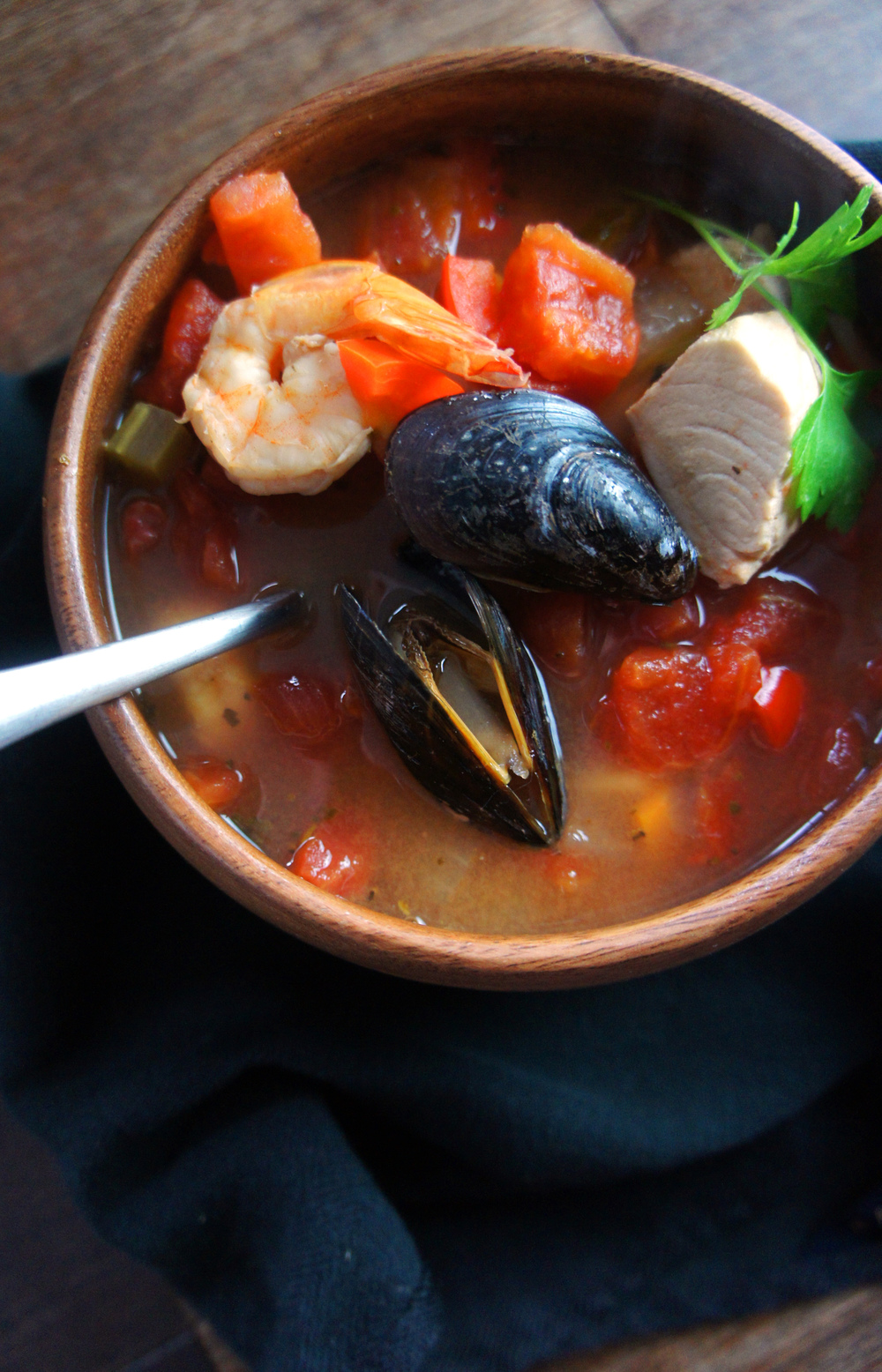 Hearty, Chunky Cioppino, a paleo seafood stew that pleases everyone!