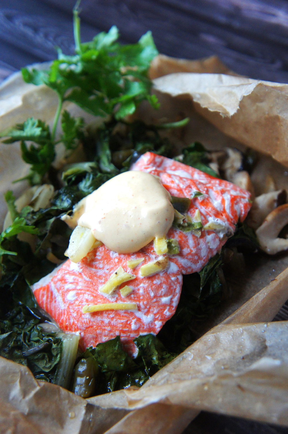 Salmon with Shiitake Mushrooms and Swiss Chard in Parchment, served with Sriracha Mayo