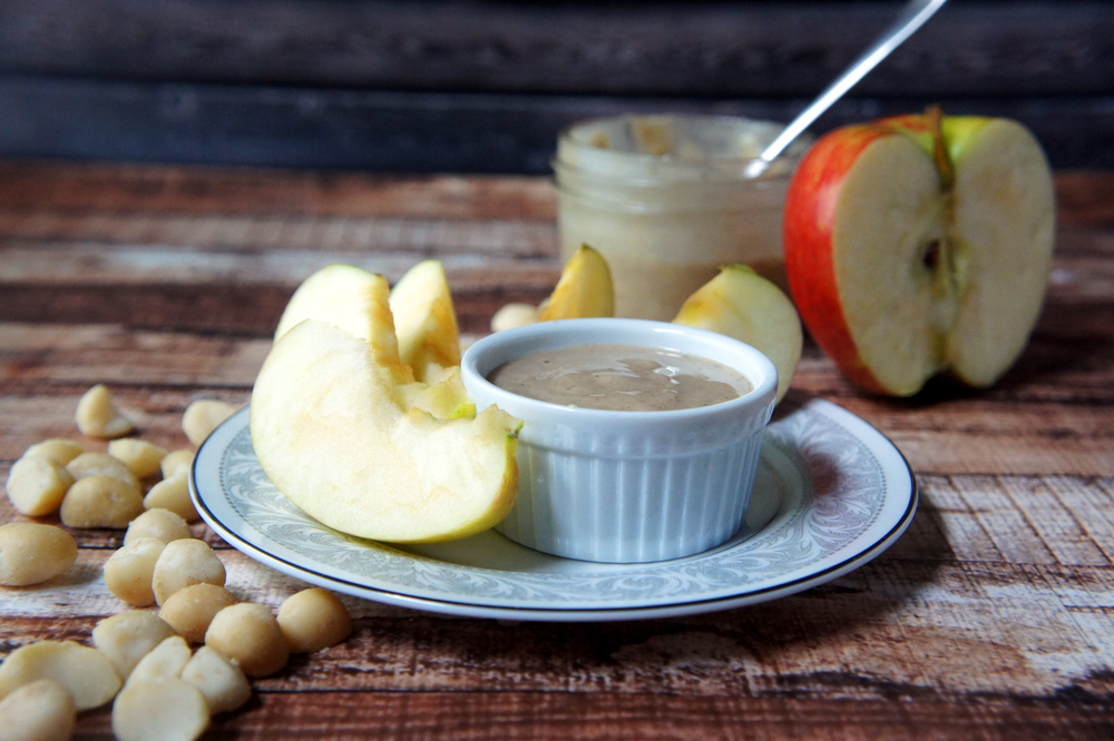 Eggnog Macadamia Butter with apple dippers
