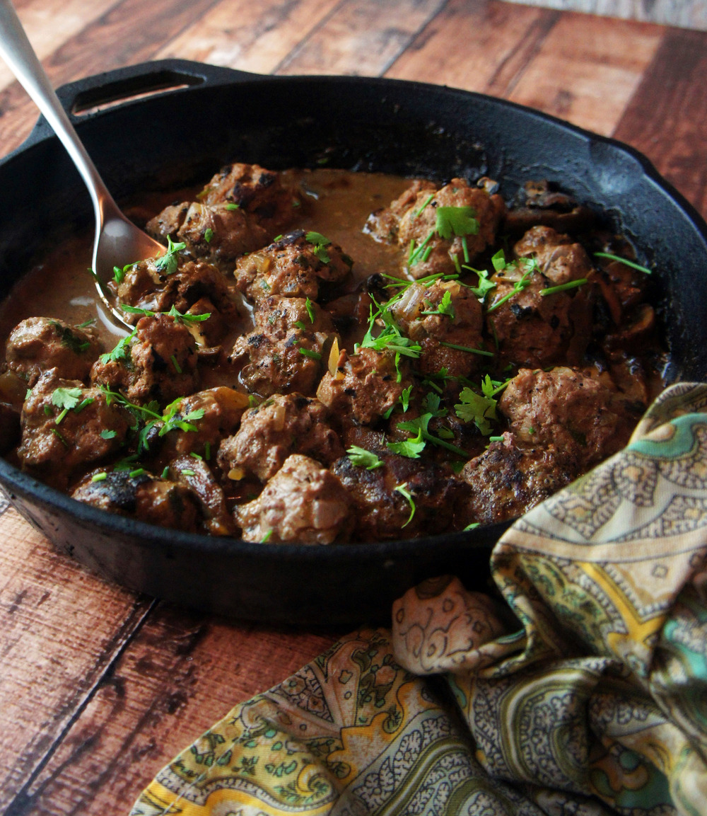 Paleo Swedish Meatballs with Mushrooms in dairy-free gravy
