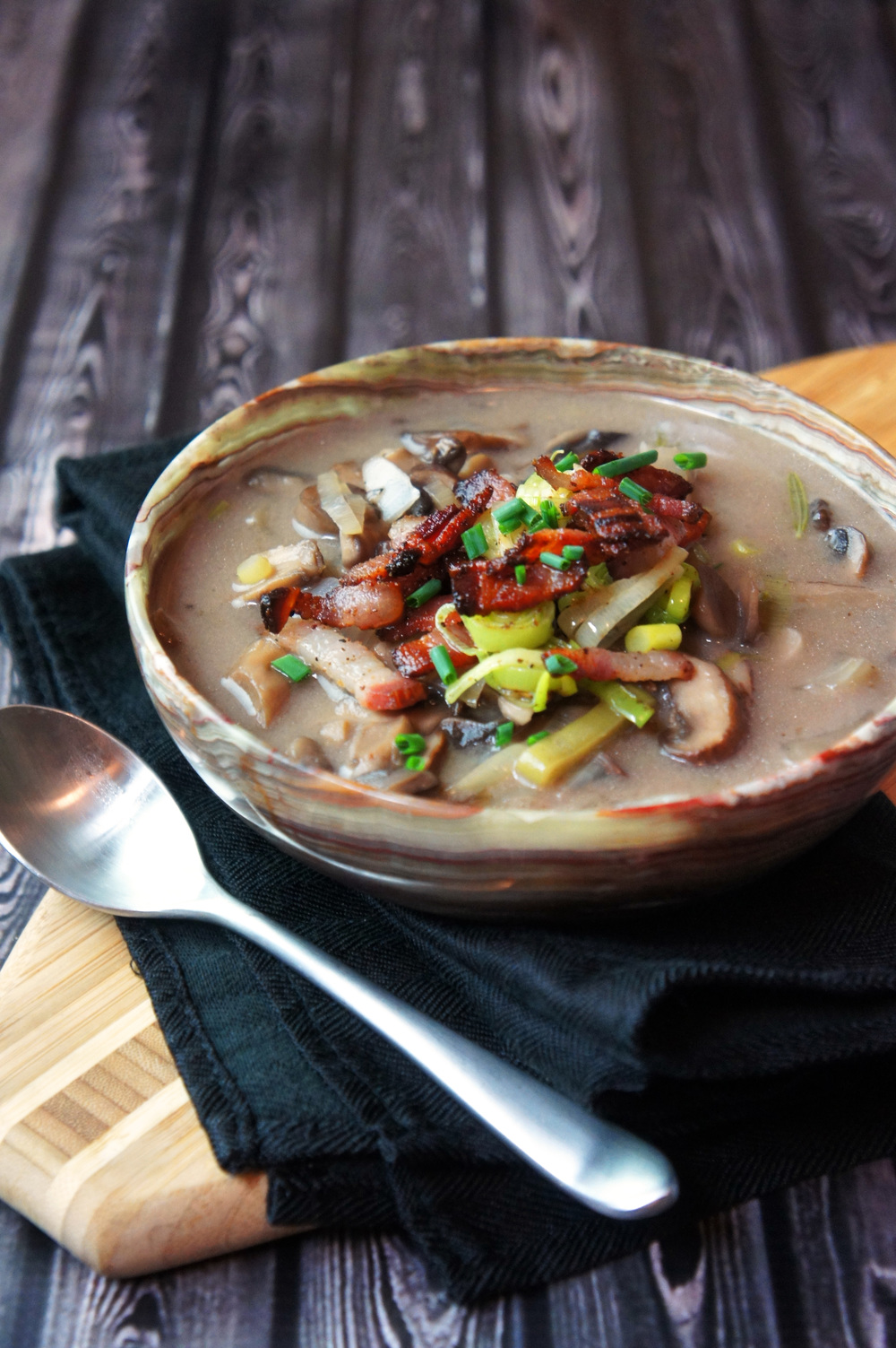 "Paleo ""Cream"" of Mushroom Soup with Bacon and Leeks (the real deal!)"