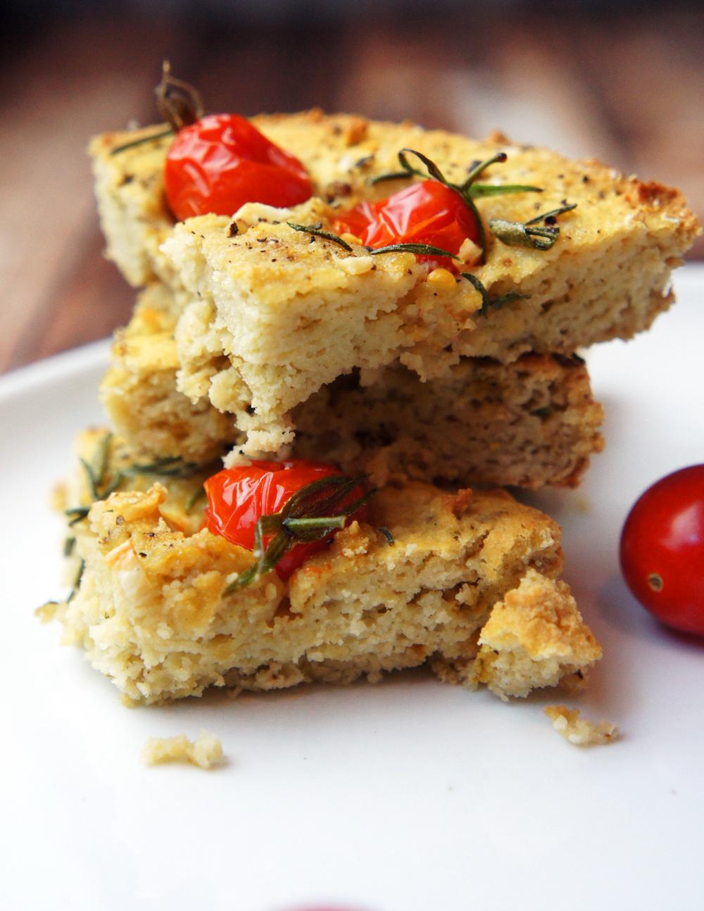 Paleo, grain-free Italian Focaccia Bread with mini cherry tomatoes, rosemary, and sea salt
