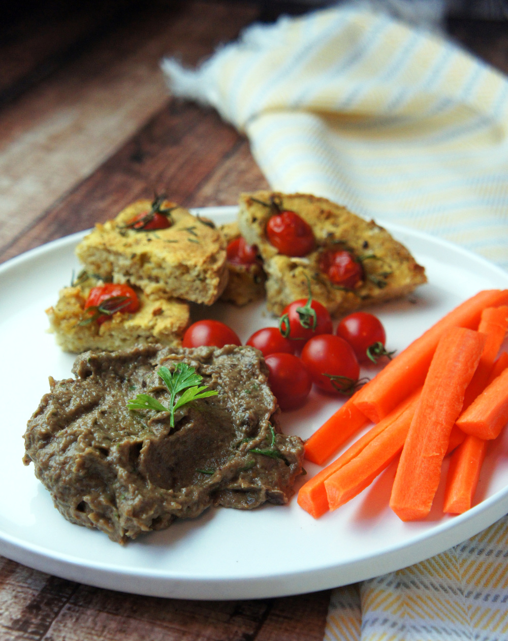 Figgy Olive tapenade is a perfect dip for veggies or this paleo focaccia bread