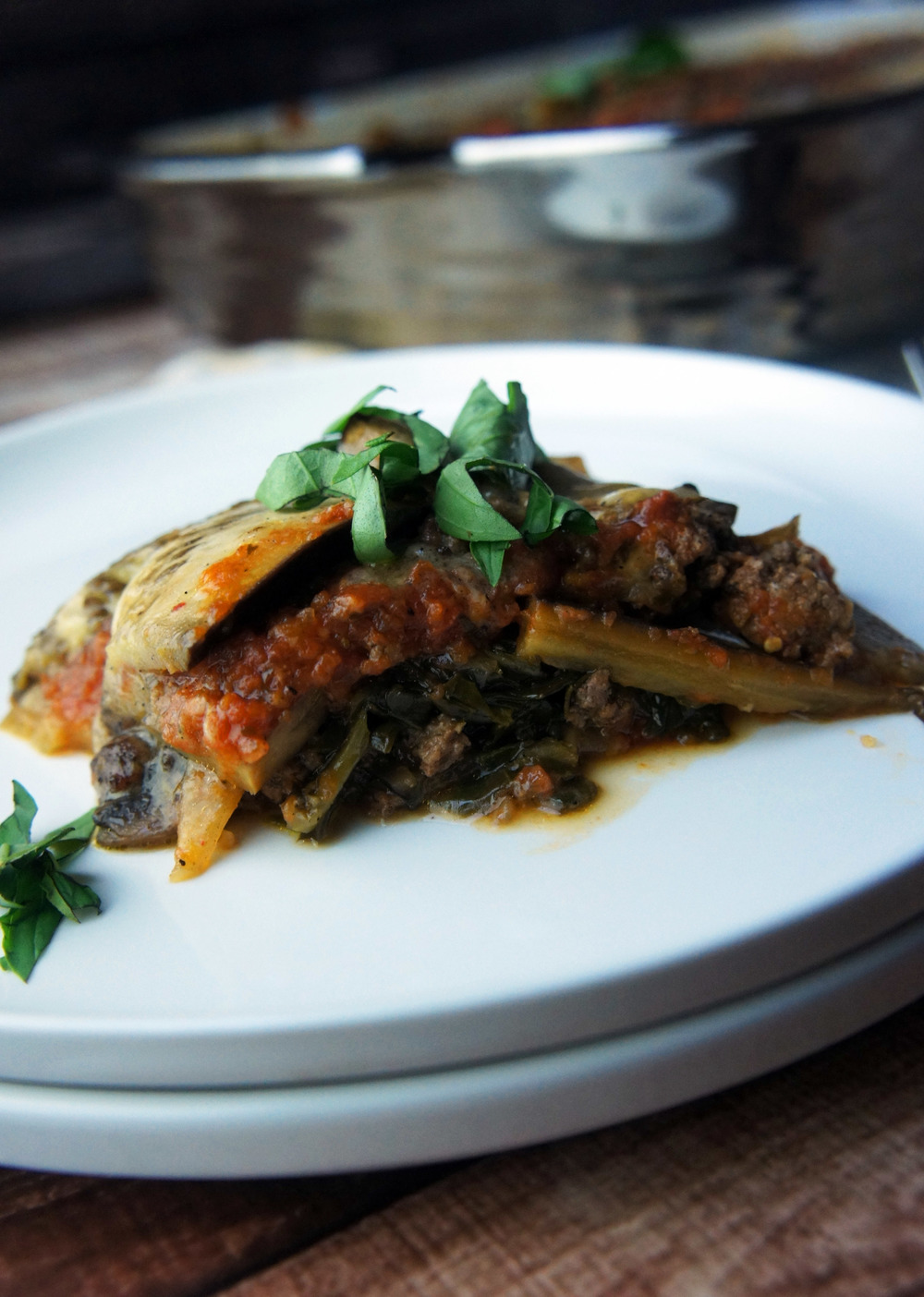 A pasta-free lasagna with caramelized eggplant, mushrooms, and spinach