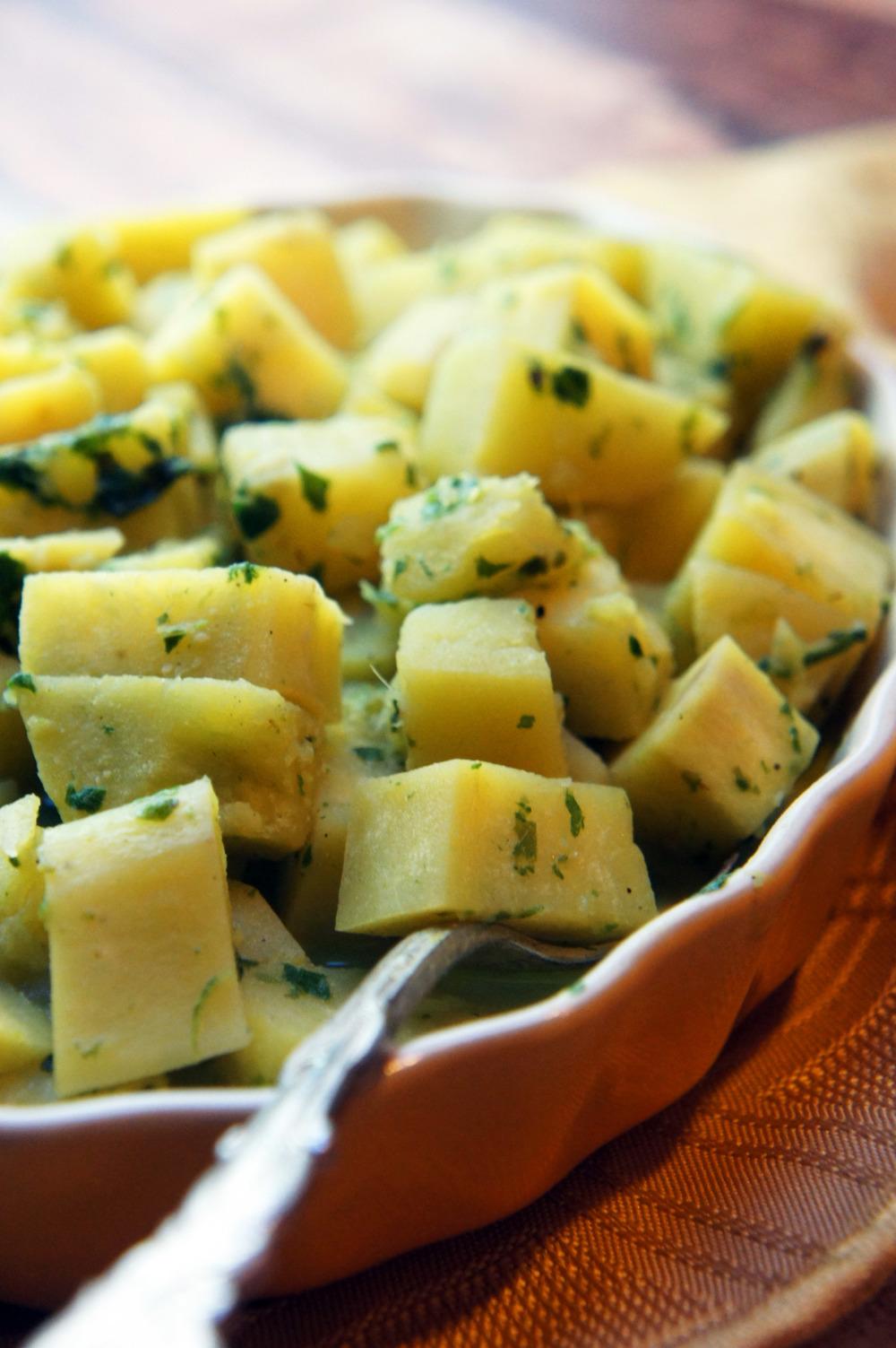 Creamy Pesto Potatoes (dairy-free, nut-free, paleo)