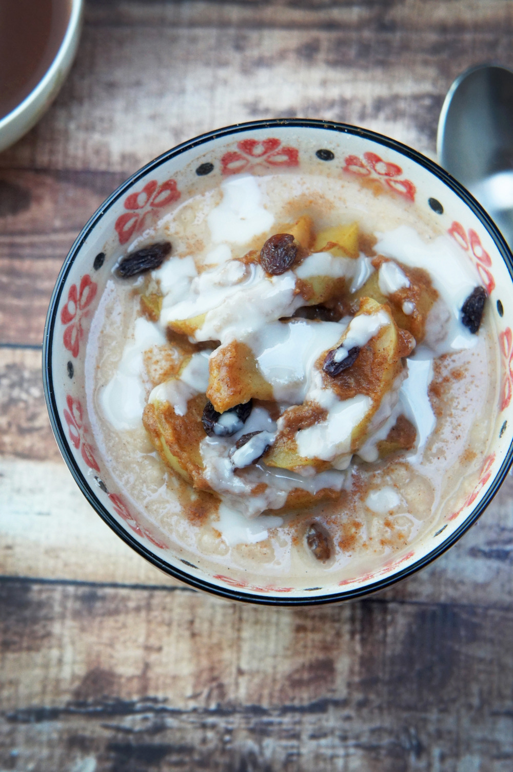 Apple Cinnamon Roll Porridge with Coconut Butter Drizzle