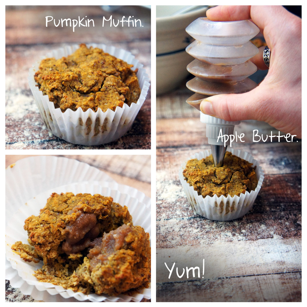 Pumpkin Spice Muffins filled with Apple Butter (Paleo)