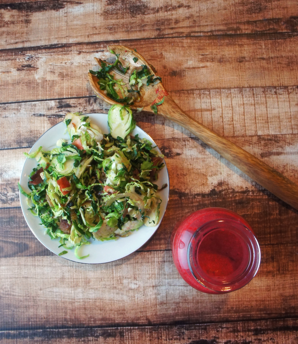 Brussels Sprout, Apple, Caramelized Onion & Bacon Salad with Cranberry Vinaigrette