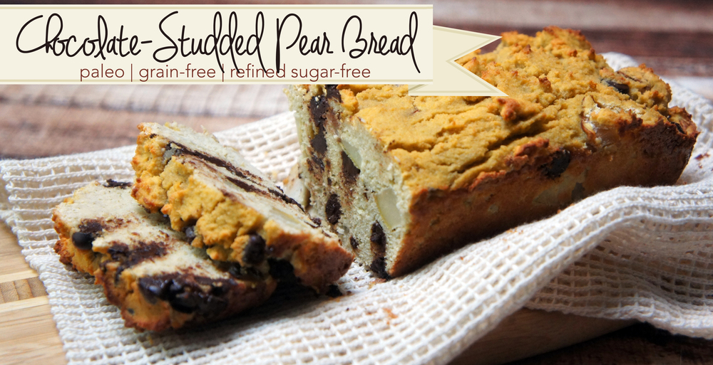 Paleo Chocolate Studded Pear Bread