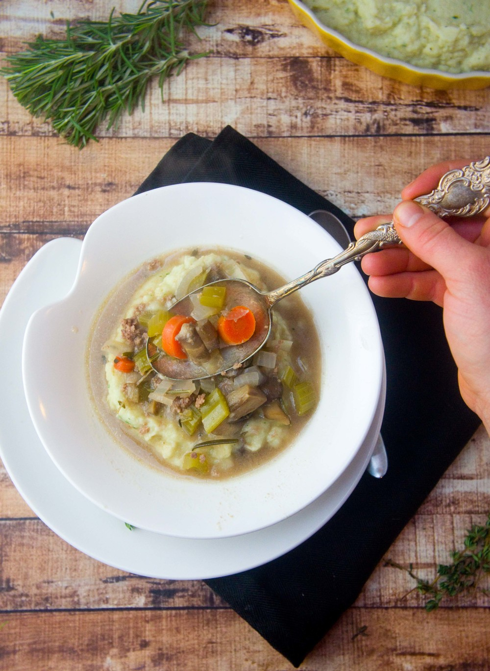 Paleo Rosemary & Thyme Beef Stew over Garlic Cauliflower Mashers