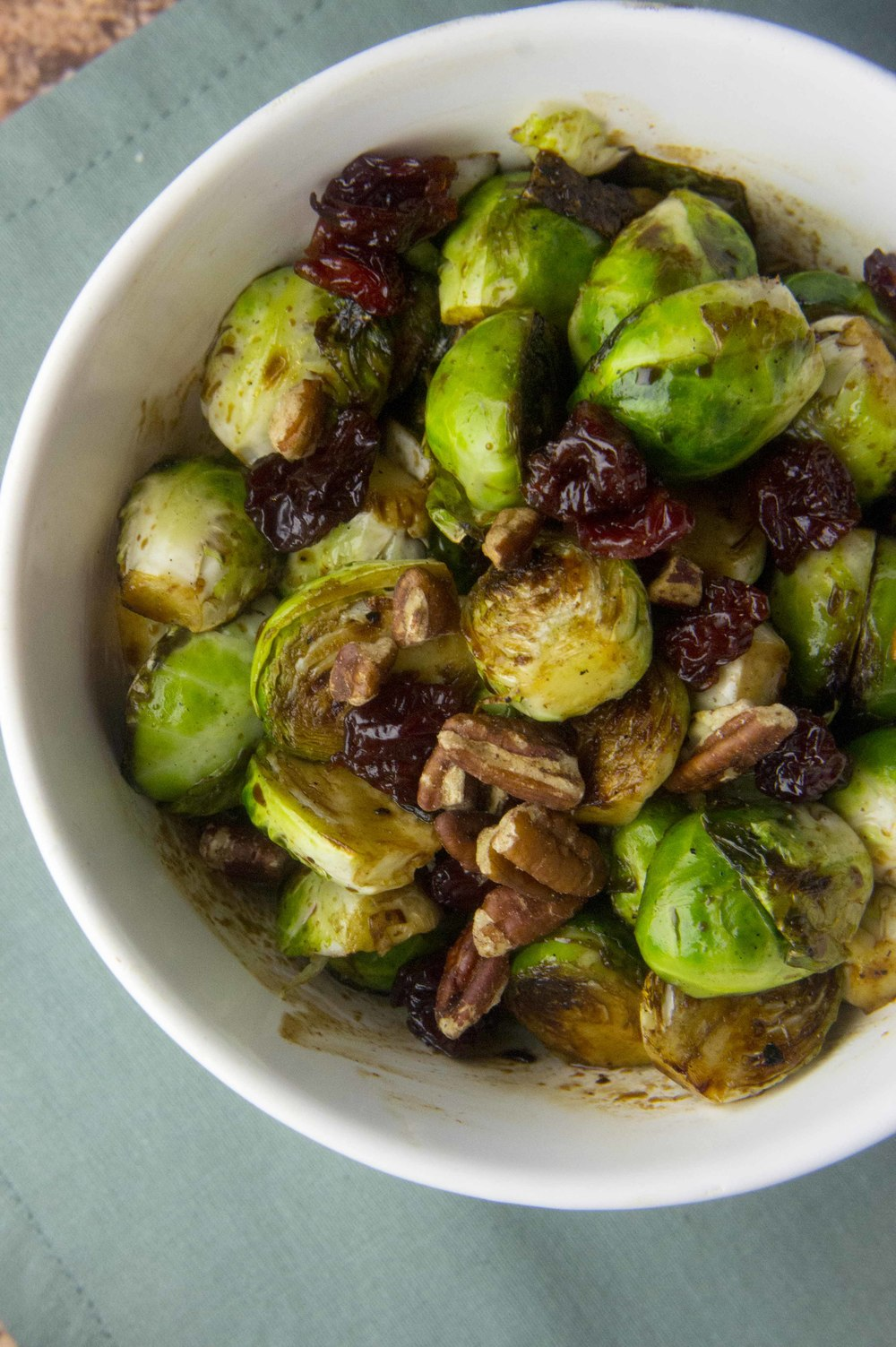Balsamic Brussels Sprouts with Pecans & Dried Cherries