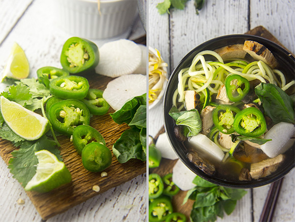 Paleo Chicken Phở with Crispy Mushrooms