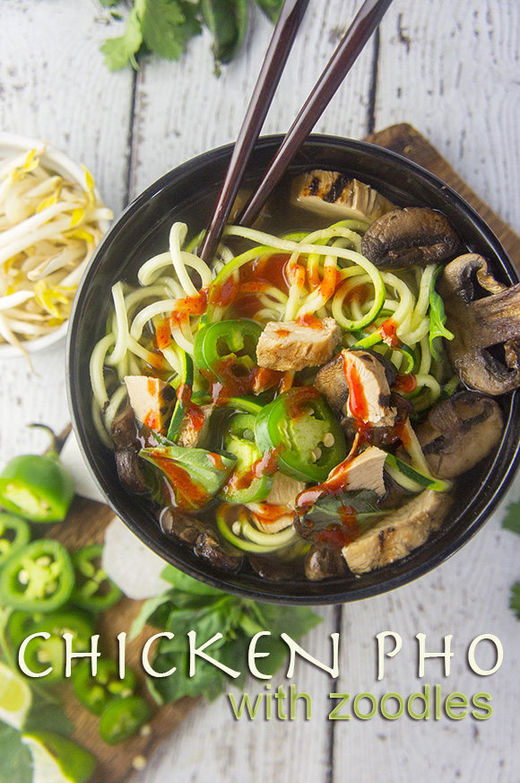 Paleo Chicken Phở with Crispy Mushrooms
