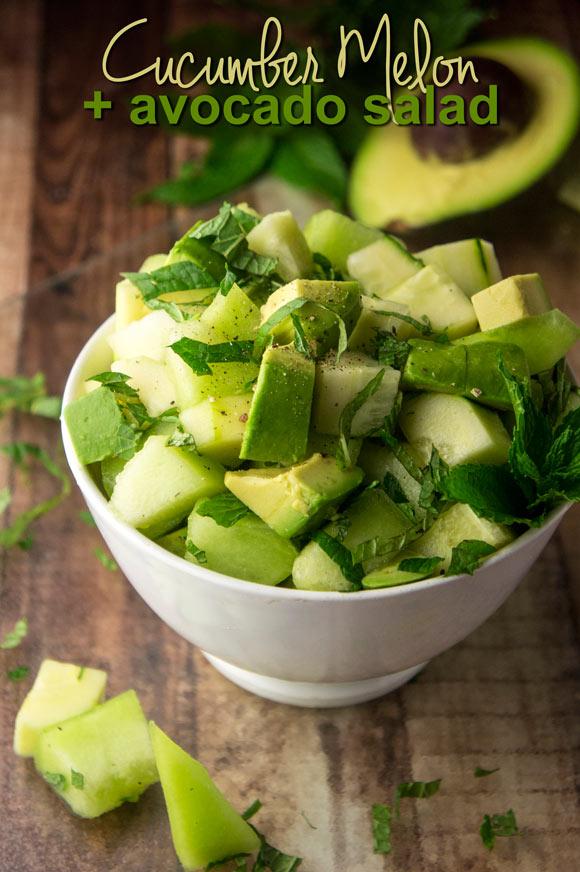 Cucumber, Melon + Avocado Salad (Paleo & Vegan)
