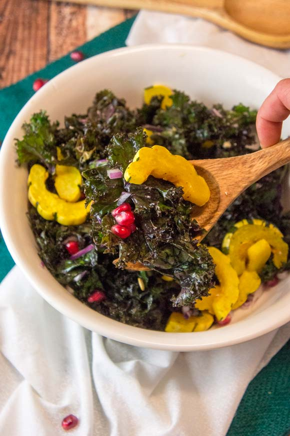 Messaged Kale Salad with Pomegranate & Delicata Squash