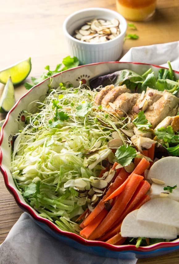 Asian Almond Crunch Chicken Salad — Foraged Dish