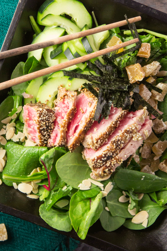 Seared Tuna Salad Ginger Wasabi Almonds