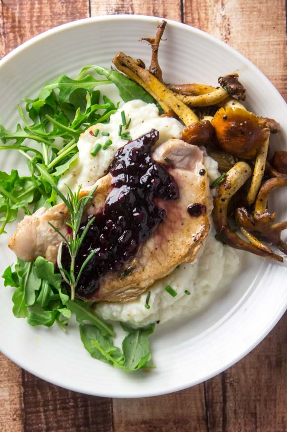 Pork Chops Cherry Wine Reduction Sauce Paleo