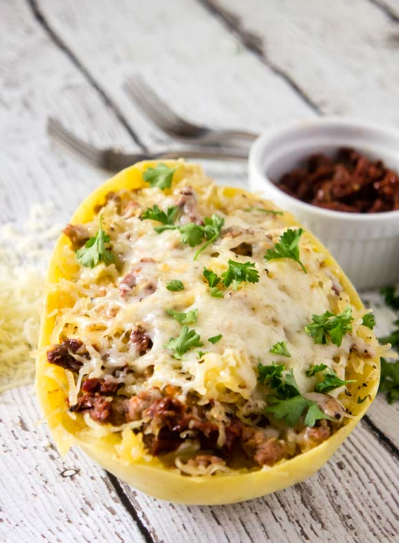 Spaghetti squash with sausage & sun dried tomatoes paleo