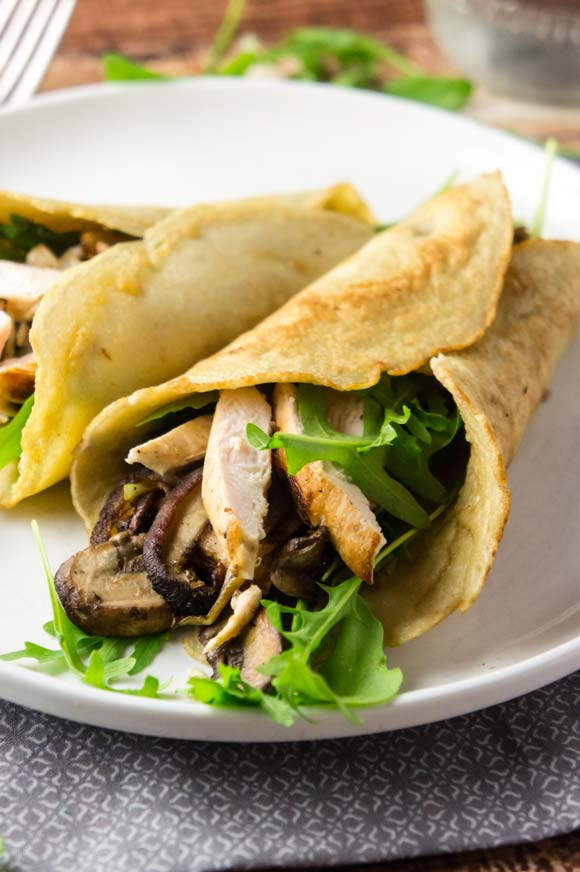 savory paleo chicken and mushroom crepes