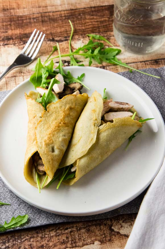 savory grain-free chicken and mushroom crepes
