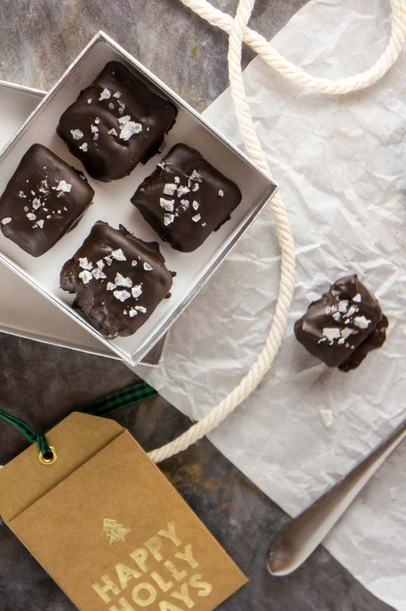 Salted chocolate covered date caramels