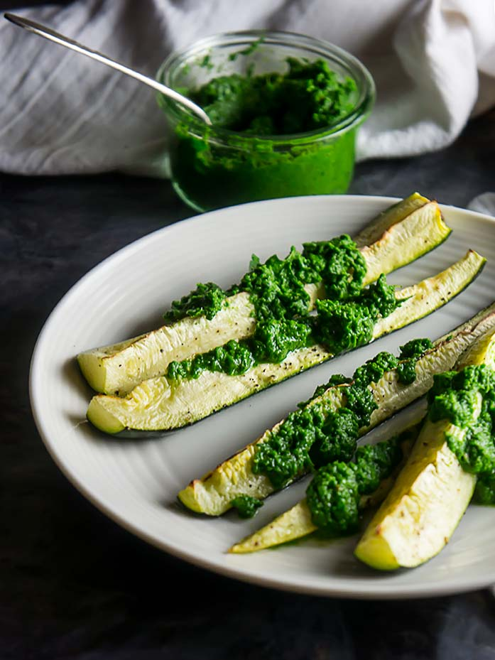 Broiled Zucchini with Chimichurri Sauce