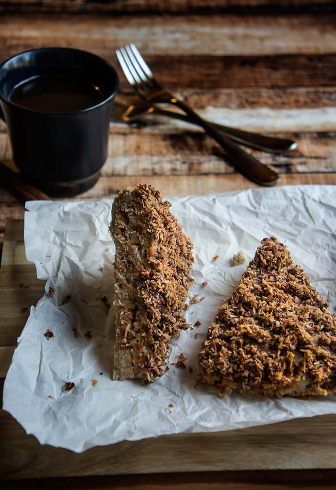 Paleo Cinnamon Coconut Crumble Coffee Cake