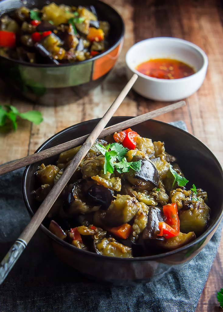 Eggplant & Red Pepper in Garlic Sauce