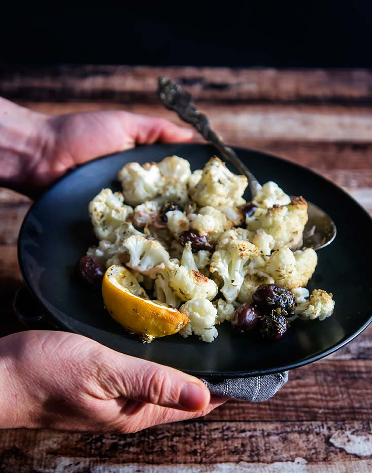 Roasted Cauliflower with Olives & Oregano