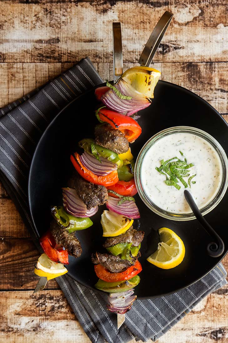 Moroccan Beef Kabobs with Mint Yogurt Sauce
