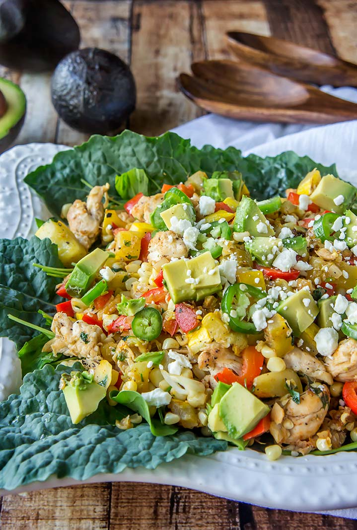 Roasted Corn & Chicken Salad with Avocado