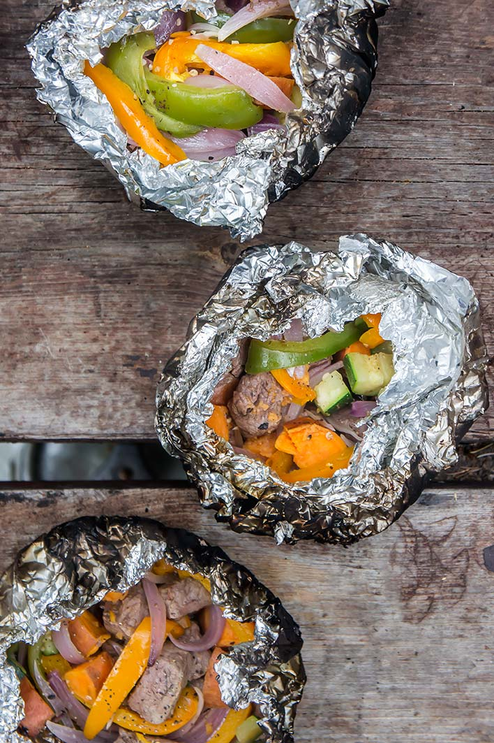 Campfire Steak, Potatoes, and Peppers - Foil Packets