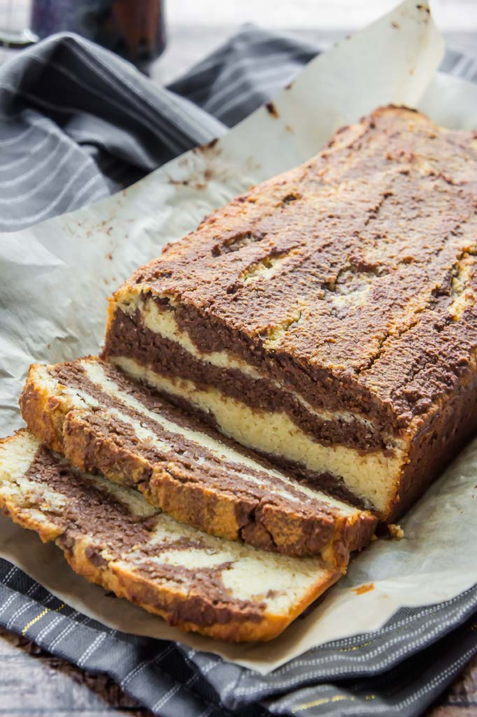 Almond Flour Chocolate Vanilla Marble Cake