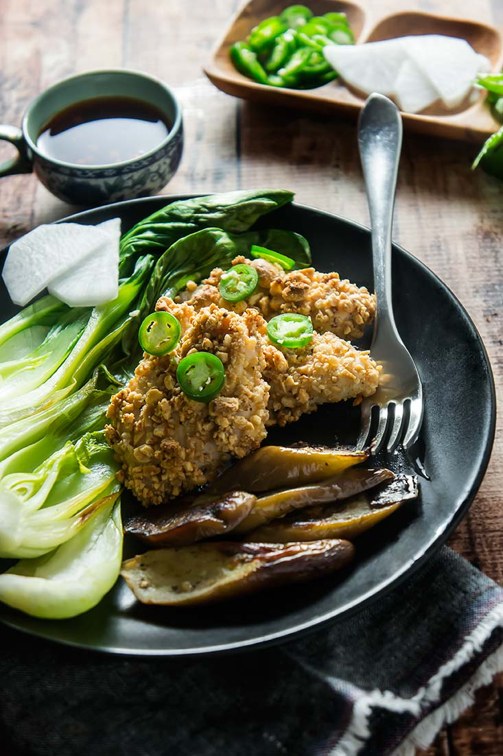 Peanut Crusted Chicken with Bok Choy & Eggplant