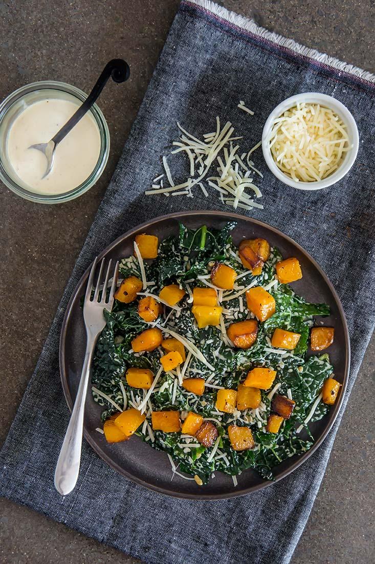 Butternut Squash & Dinosaur Kale Caesar Salad