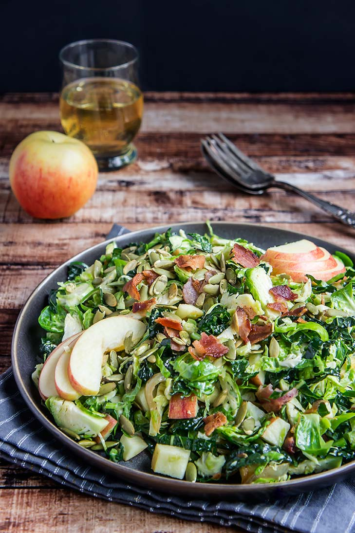 Brussels Sprouts, Apple, & Bacon Salad with Honey-Mustard Vinaigrette